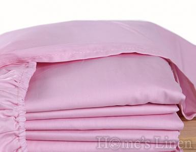 Долен чаршаф с ластик 100% памук перкал светло розово