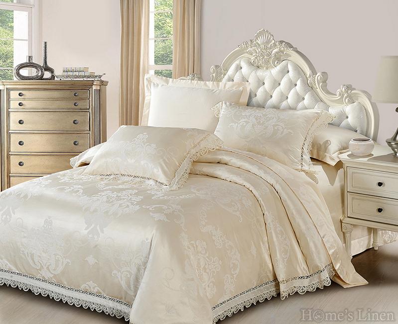 """Луксозен спален комплект памучен сатен с жакард и дантела """"Палома"""""""