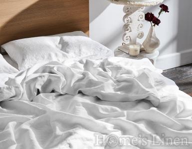 "Спален комплект от 100% Френски пран лен ""Дантела бяло"", Natural Linens Collection"