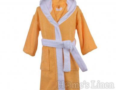 """Детски халат за баня 100% памук """"Жълт/бял"""""""