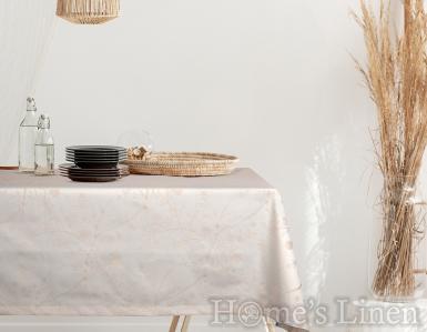 """Жакардова покривка за маса в екрю, незадържаща петна  """"Хавана"""""""