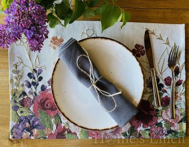 """Ленена салфетка с контрастен кант от френски пран лен, винтидж стил """"Нордик"""""""