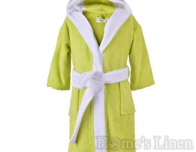 """Детски халат за баня 100% памук """"Зелен/бял"""""""