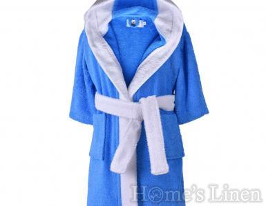 """Детски халат за баня 100% памук """"Светло син/ бял"""""""