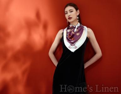 """Луксозен шал от естествена коприна """"Rejiis Lila"""", EM&EVE"""