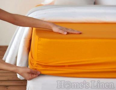 Долен чaршаф с ластик 100% памук дюс оранжево
