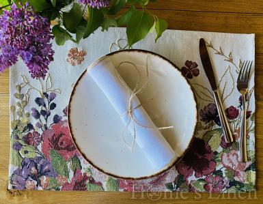 """Ленена салфетка с контрастен кант от френски пран лен, винтидж стил """"Аляска"""""""