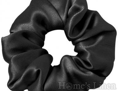 "Ластик за коса 100% естествена коприна стил ""Scrunchie"", черно стандартен размер"