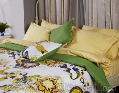 """Комплект двулицево шалте с декоративни възглавници """"Зелено с цветя"""""""