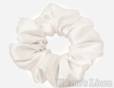 "Ластик за коса 100% естествена коприна стил ""Scrunchie"", перла стандартен размер"