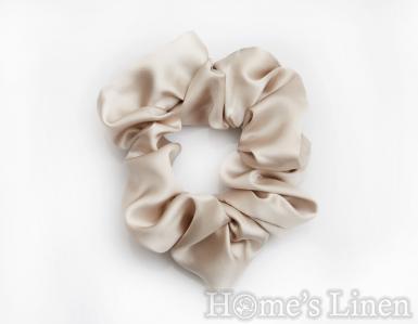 """Ластик за коса 100% естествена коприна стил Scrunchie """"Nude"""" стандартен размер, EM&EVE"""